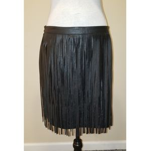 H&M Faux Leather Skirt with Leather Fringe
